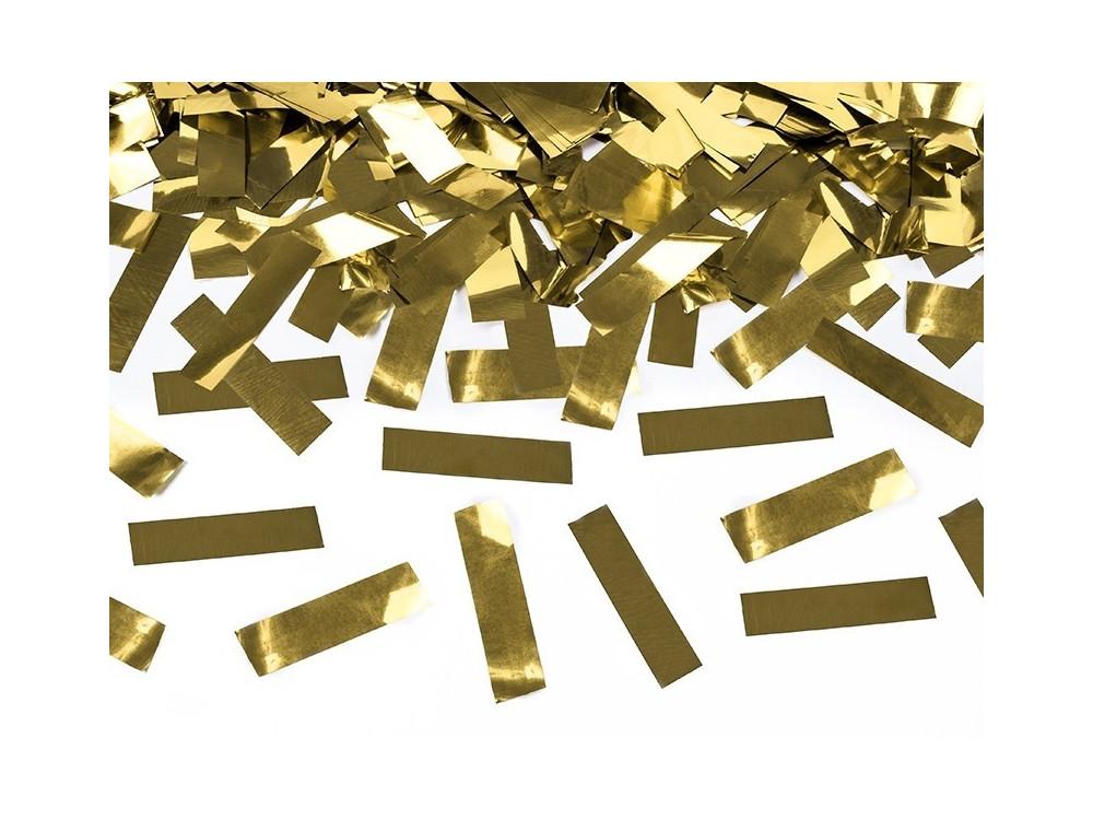 Wystrzałowe konfetti tuba - złote, metalizowane, 80 cm