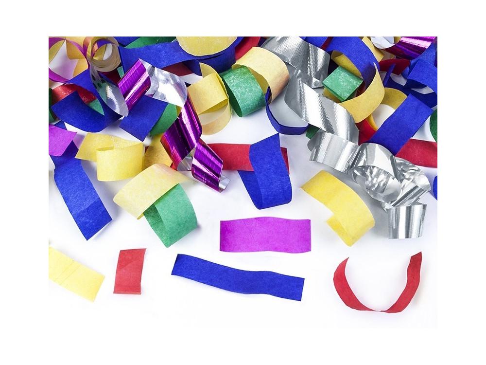 Wystrzałowe konfetti i serpentyny tuba - kolorowe, 80 cm