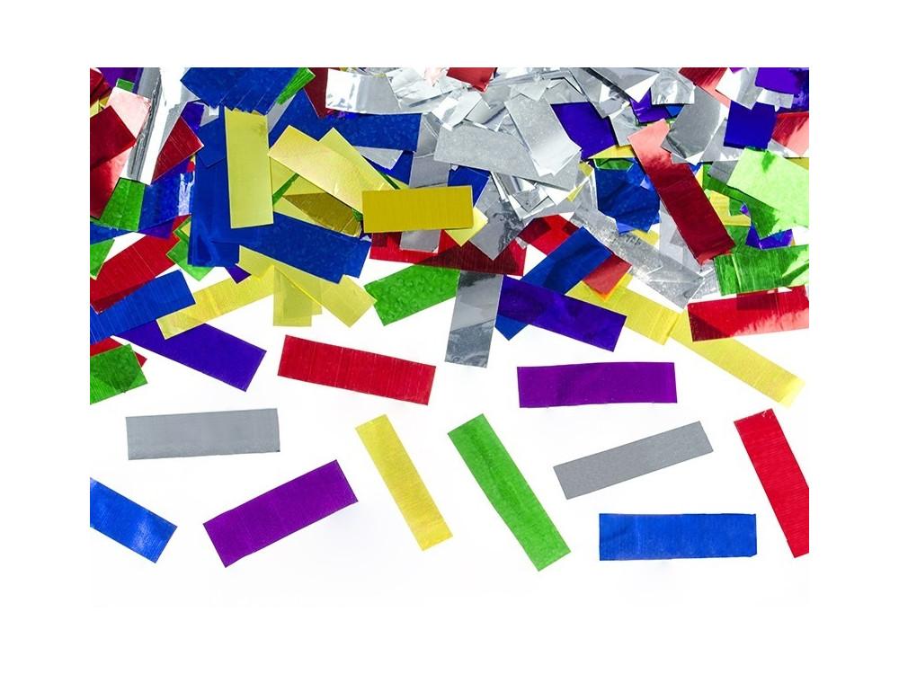 Wystrzałowe konfetti tuba - kolorowe, metalizowane, 80 cm