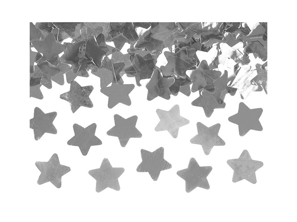 Confetti cannon - stars, silver, 80 cm