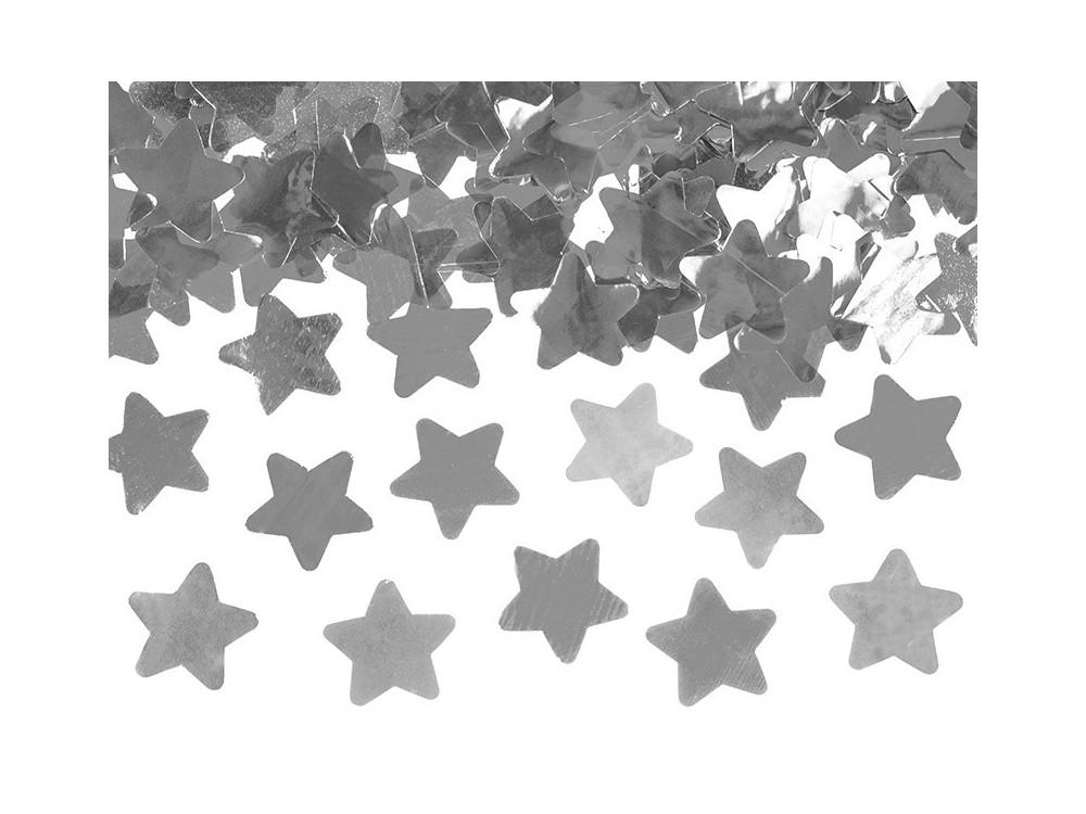 Wystrzałowe konfetti tuba - gwiazdki, srebrne, 80 cm