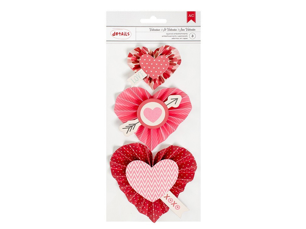 Heart Rosettes Valentines collection - American Crafts - 3 pcs.