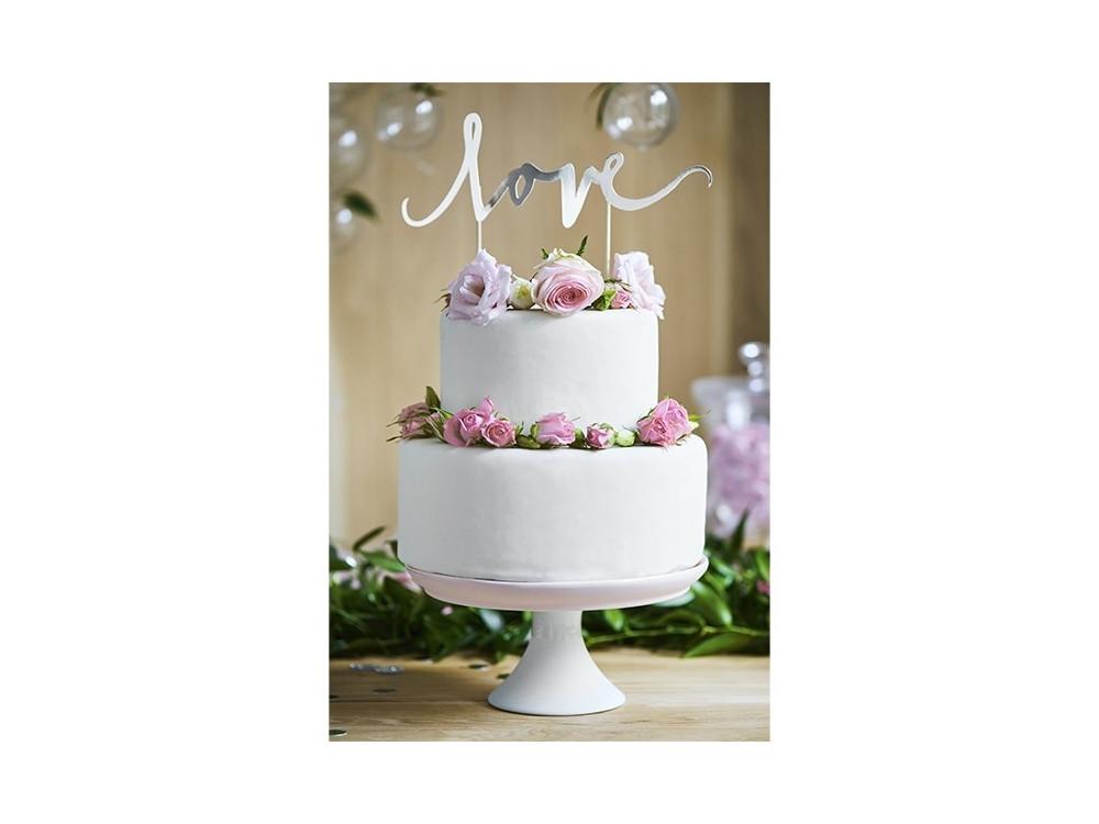 Cake topper Love - silver, 17 cm, 1 pc.