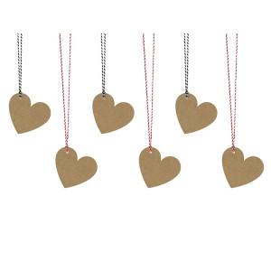 Decorative tags Hearts, 2 sizes 6 pcs
