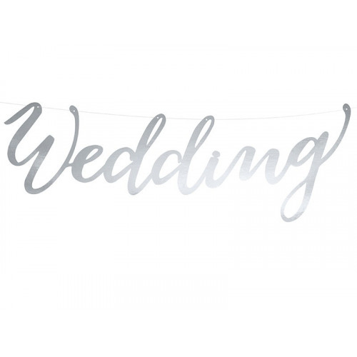 Banner Wedding - silver, 16,5 x 45 cm