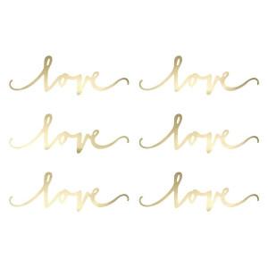 Dekoracja Love srebrna 6 x 20 cm, 6 szt.
