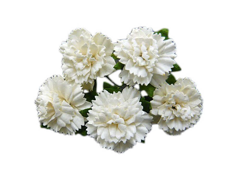 Kwiaty papierowe - Goździki 25 mm 5 szt. Off-White