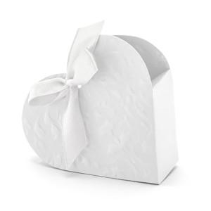 Pudełeczka dla gości białe serce 10 szt.