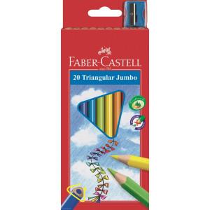 Kredki Jumbo trójkątne 10 kolorów + temperówka - Faber-Castell