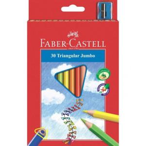 Kredki Jumbo trójkątne 20 kolorów + temperówka - Faber-Castell