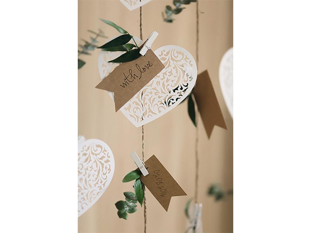 Serce papierowe zawieszka dekoracja - 12 x 10 cm, 10 szt.