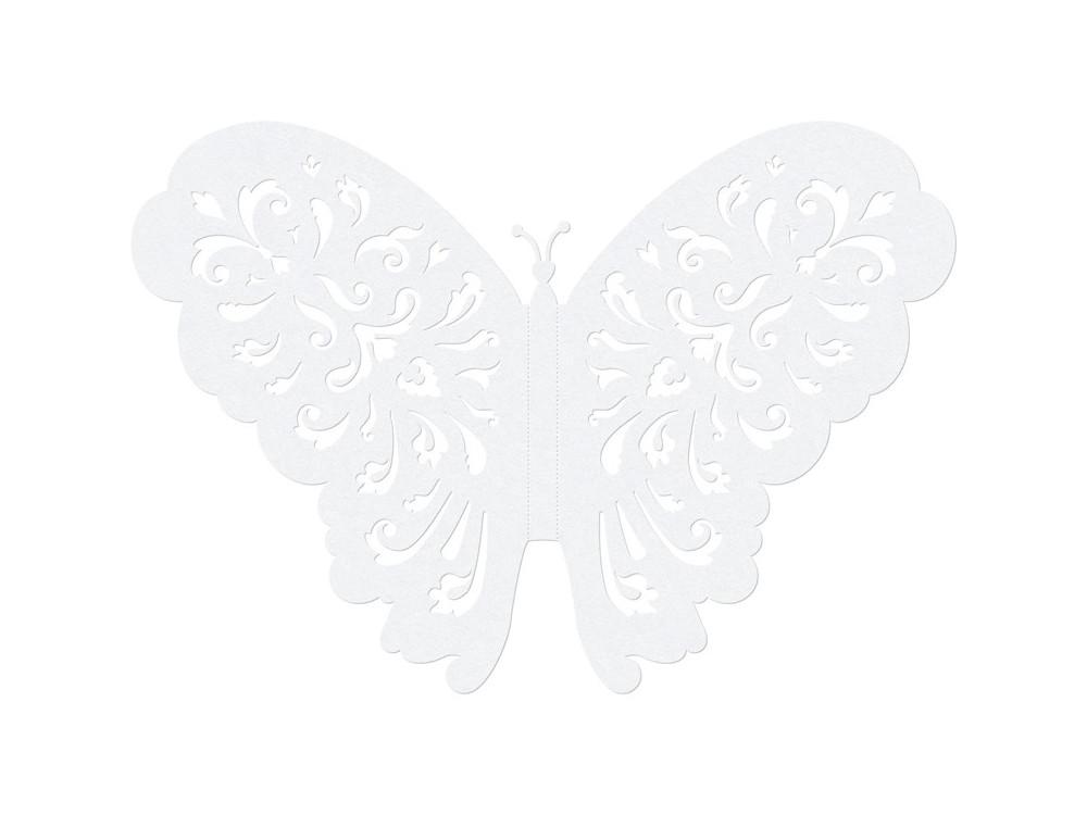 Motyle z papieru - białe, perłowe, 14 cm, 10 szt.