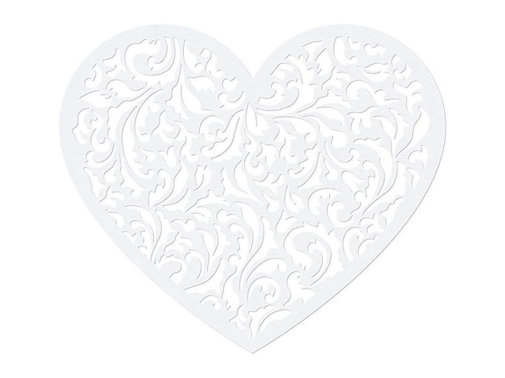 Serce papierowe ozdobne dekoracja - białe, 13,5 x 11,5 cm, 10 szt.