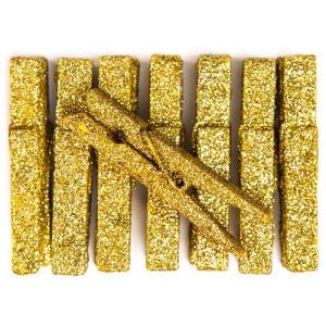 Glitter pegs - Gold, 8 pcs
