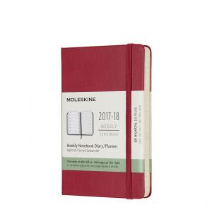 Kalendarz Moleskine 2017-2018 Scarlet Red Hard Pocket