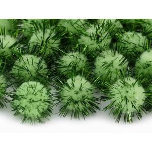 Pompony pluszowe 2 cm - Zielone metalizowane, 20 szt.