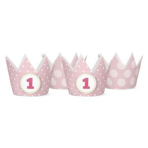 Korony Party, 1 urodziny, j. róż, 10 cm