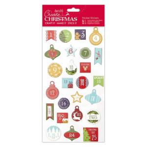 Naklejki wytłaczane - Papermania - Christmas Alphas - Lower Case