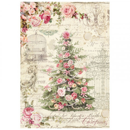 Papier ryżowy A4 Stamperia - Sweet Christmas - Choinka