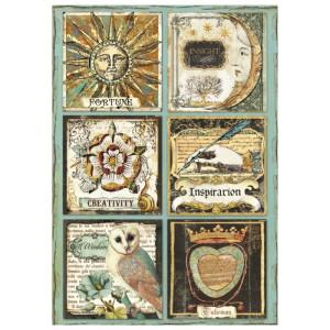 Papier ryżowy A4 Stamperia - Alchemy - Sowa, alfabet
