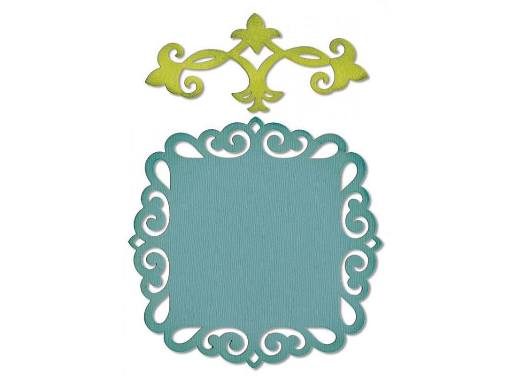 Zestaw wykrojników Thinlits - Sizzix - Decorative Accent & Label, 2 szt.