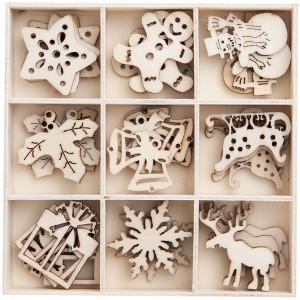 Zestaw drewnianych kształtów do ozdabiania - Papermania - Snowflakes, 48 szt.