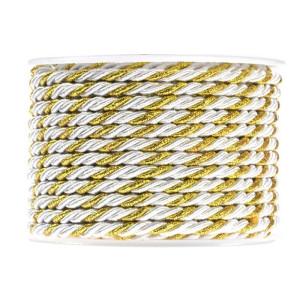 Sznurek pleciony na rolce 10 m 3 mm, złoto-biały 67