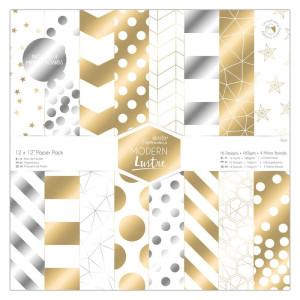 Zestaw papierów 30x30 cm - Papermania - Capsule Geometric Mono, 36 szt.