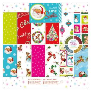 Zestaw papierów 30x30 cm - Papermania - Love Santa, 36 szt.
