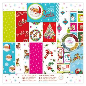 Zestaw papierów 15x15 cm - Papermania - Love Santa, 36 szt.