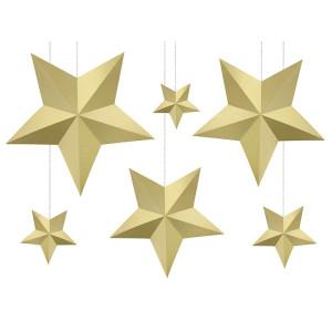 Dekoracja wisząca Gwiazdy, biała - 6 szt.