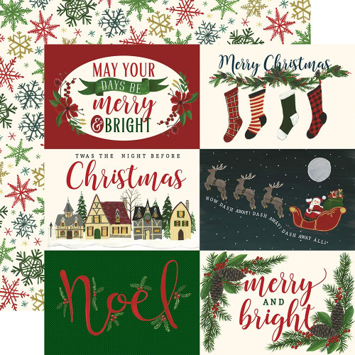 Papier Echo Park - Twas the Night Before Christmas - Horizontal 4x6  Journaling Cards