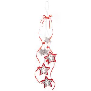 Filcowa dekoracja - Zawieszka Mikołaje na drabinie, 7 x 50 cm