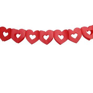 Girlanda ozdobna, bibułowa - Czerwone serca 13 cm