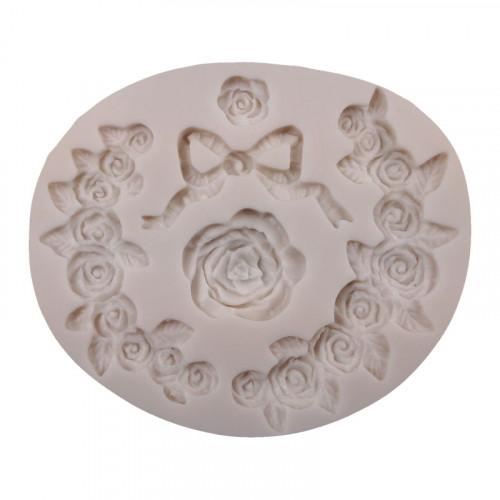 Forma silikonowa do odlewów Pentart - Róża, Ornament różany