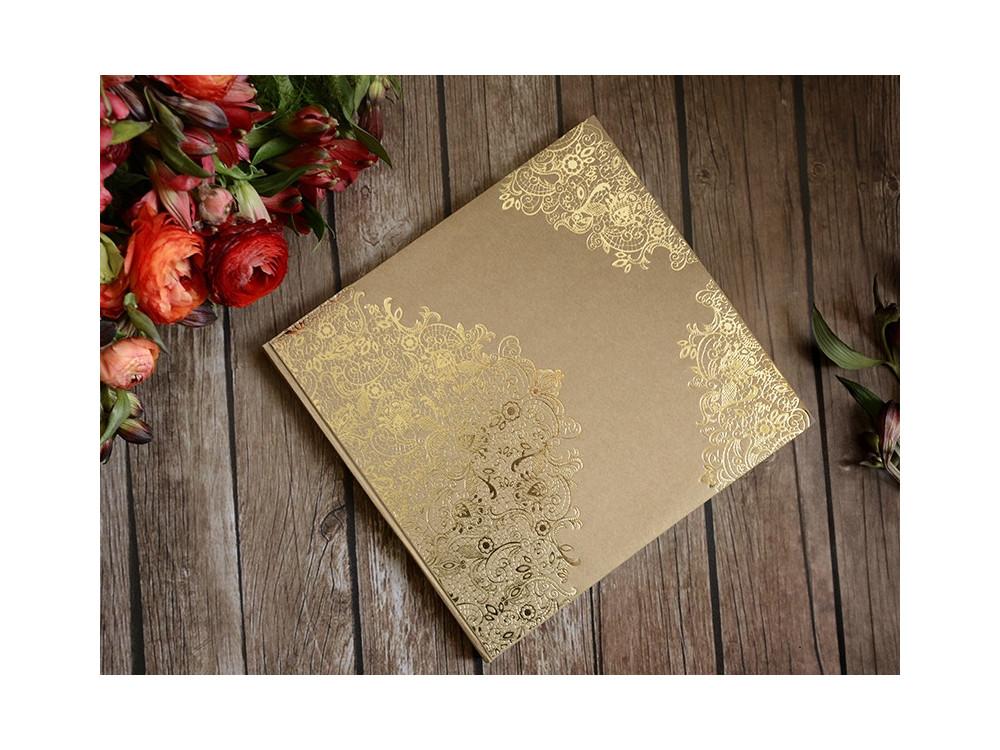 Guest book gold ornament - kraft, 21 x 19,7 cm, 22 sheets