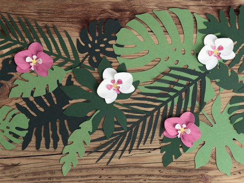 Dekoracje papierowe, liście tropikalne Aloha - 21 szt.