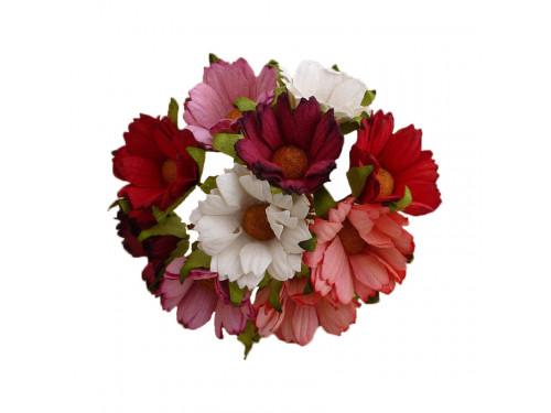 Kwiaty papierowe Chryzantemy - różowo-czerwono-białe, 45 mm 5 szt.