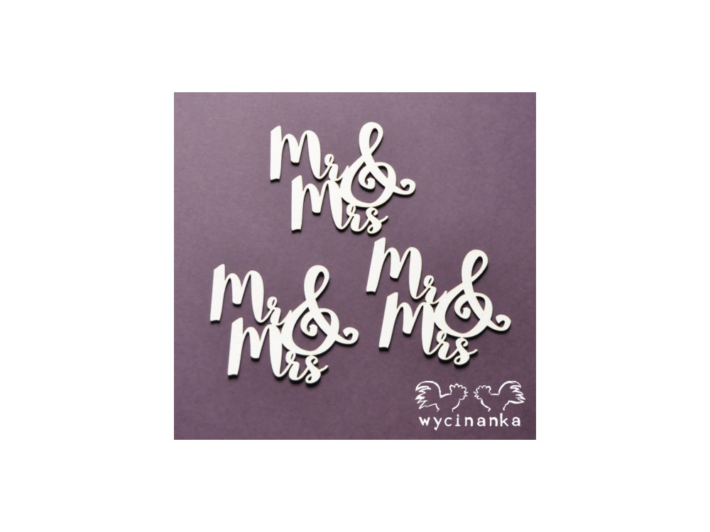 Ozdoby tekturowe - Wycinanka - Napisy Mr & Mrs
