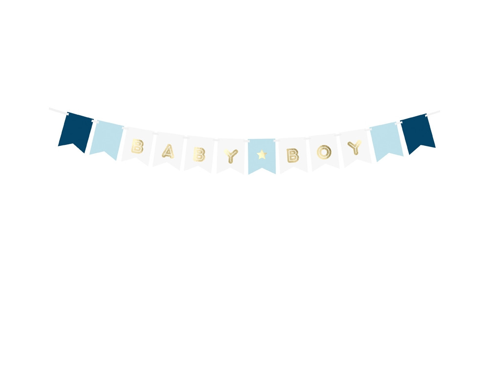 Banner Baby Boy - blue and gold, 15 x 160 cm, 1 pc.