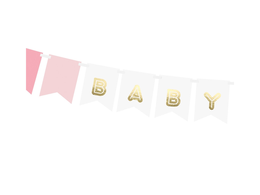 Banner Baby Girl - pink and gold, 15 x 175 cm