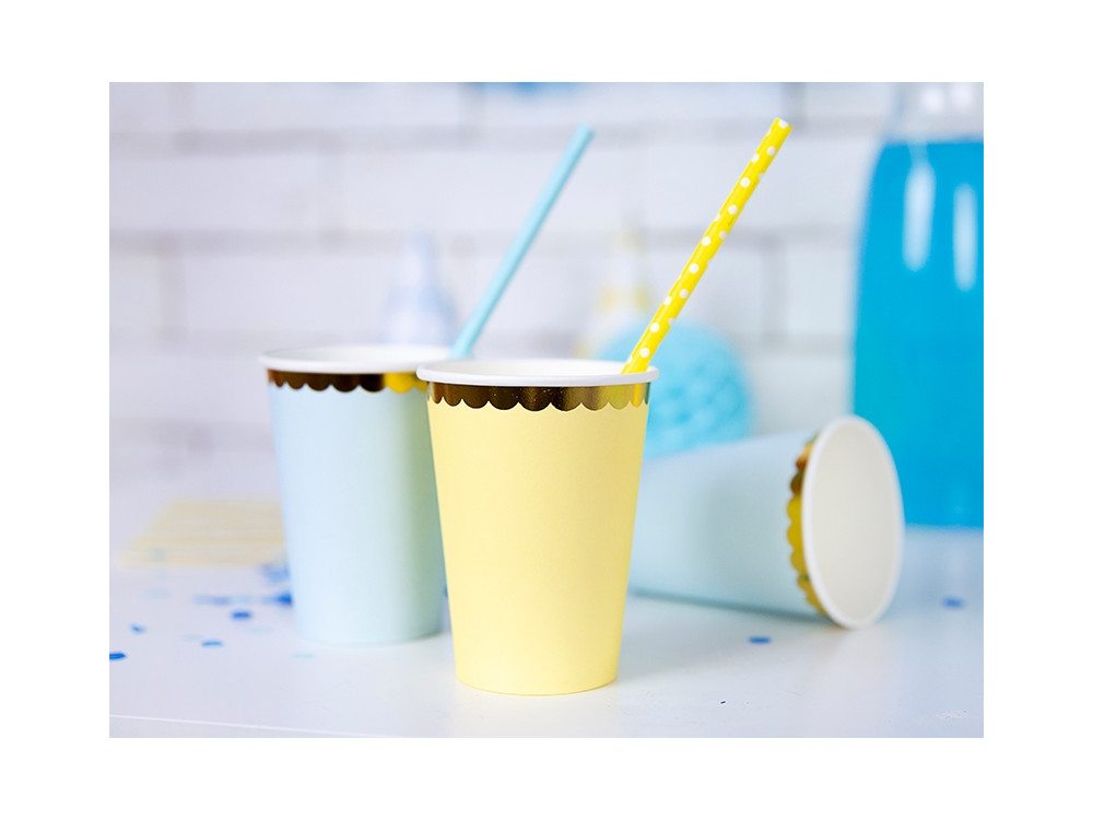 Paper cups - yellow and gold, 220 ml, 6 pcs.
