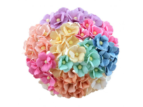 Kwiaty papierowe Sweetheart - pastelowe, 15 mm, 100 szt.