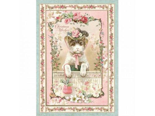 Papier ryżowy A4 Stamperia - Kotek różowy