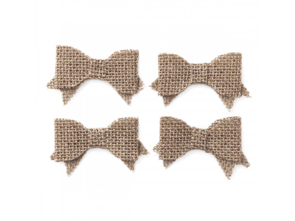 Self-adhesive bows of jute, 4 pcs