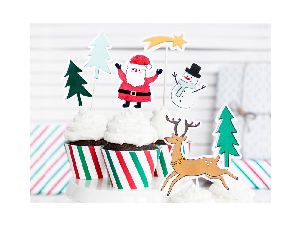 Cake topper - Merry Xmas 12,5-18cm, 7 szt
