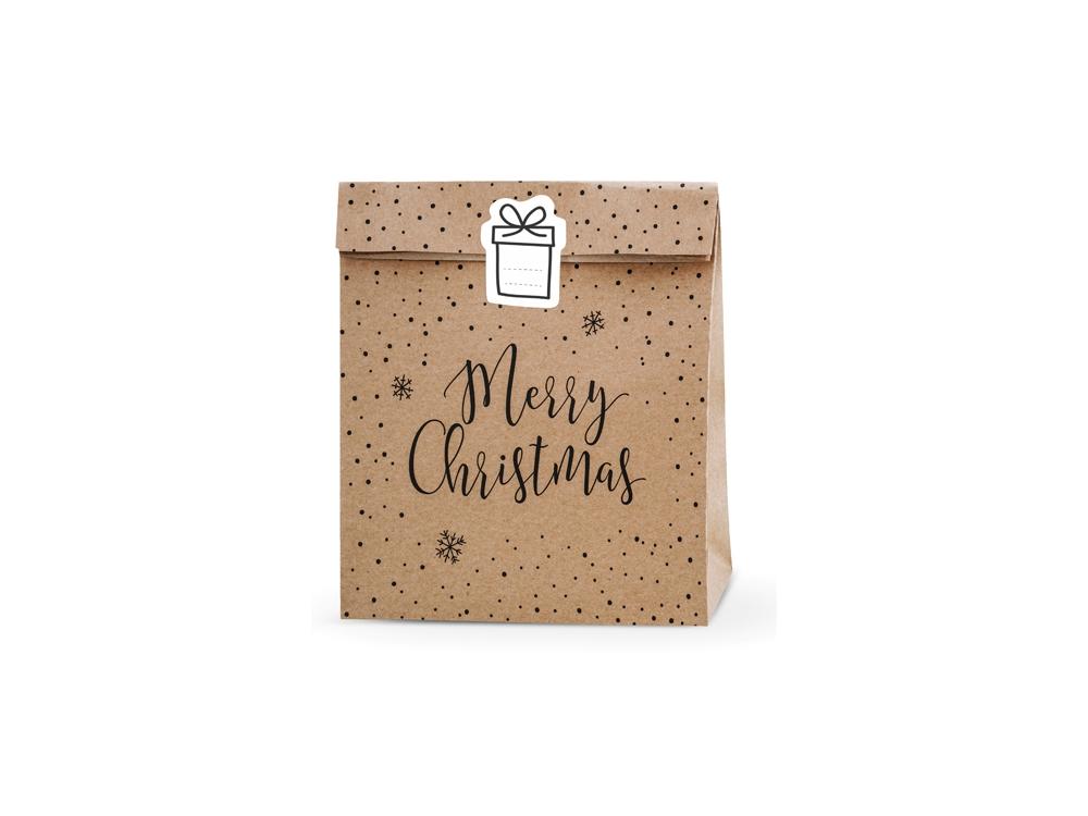 Gift bags Merry Christmas - kraft, 3 pcs