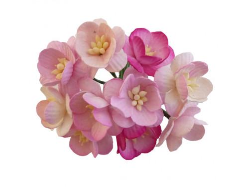 Kwiaty papierowe - Wiśni 25 mm 50 szt. Mix różowy