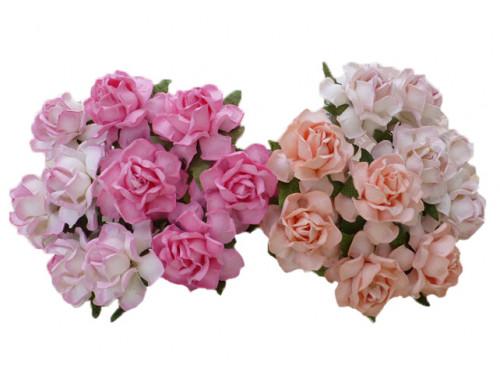 Kwiaty papierowe - Róże Cottage 25 mm 20 szt. Mix różowy