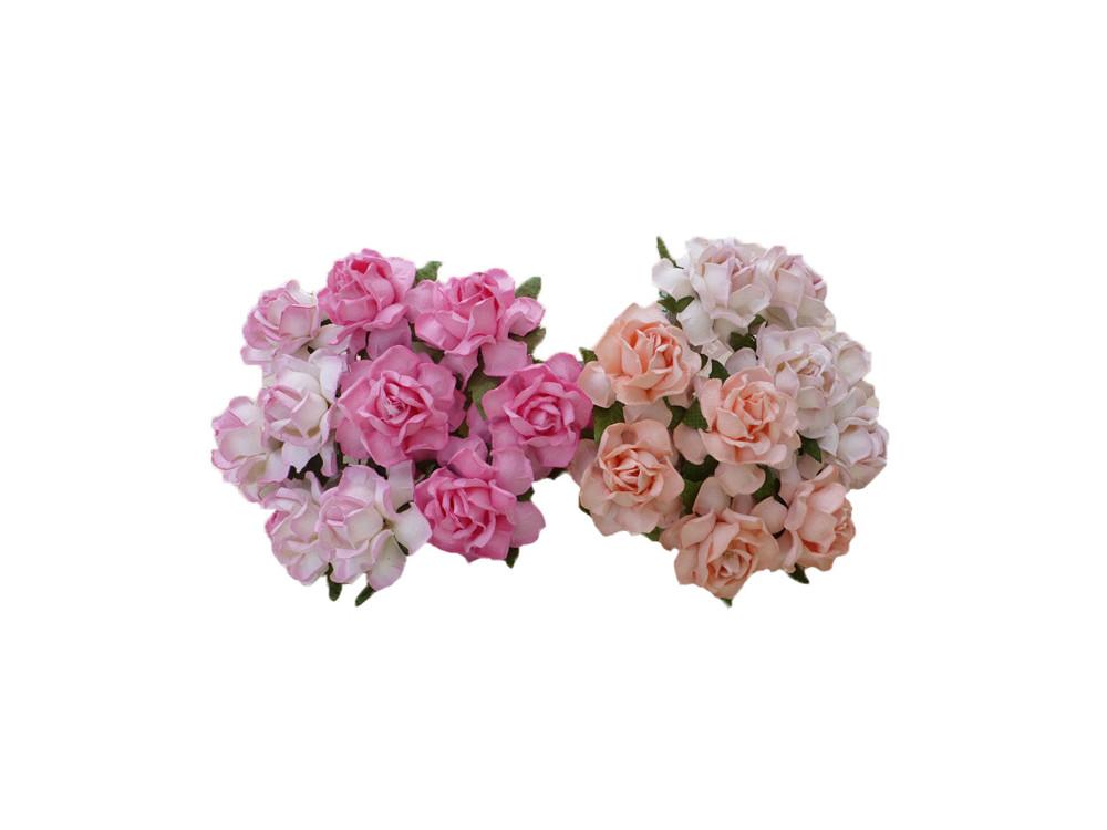 Kwiaty papierowe Róże Cottage - różowe mix, 25 mm, 50 szt.